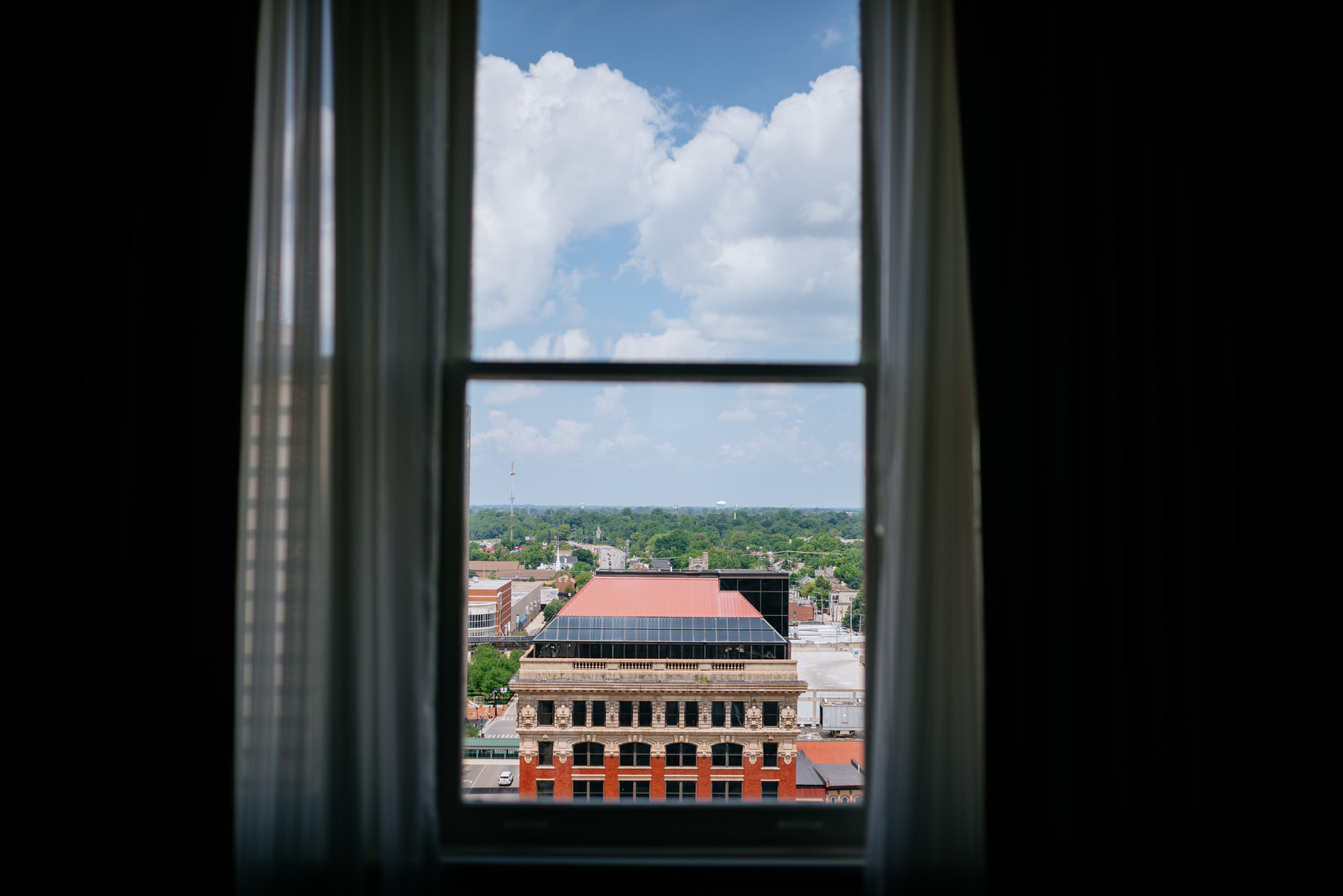 looking out window 21c hotel lexington ky
