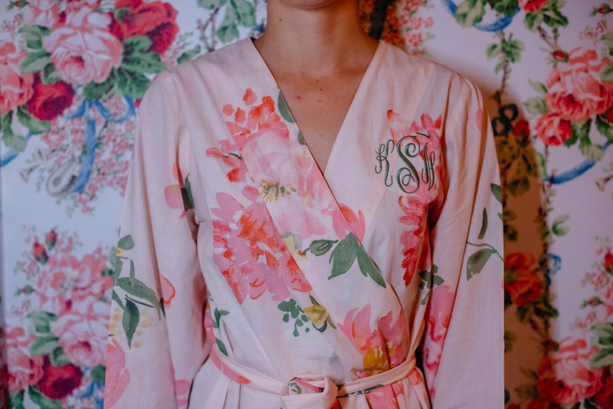 bridesmaid robe matching wallpaper at the greenbrier