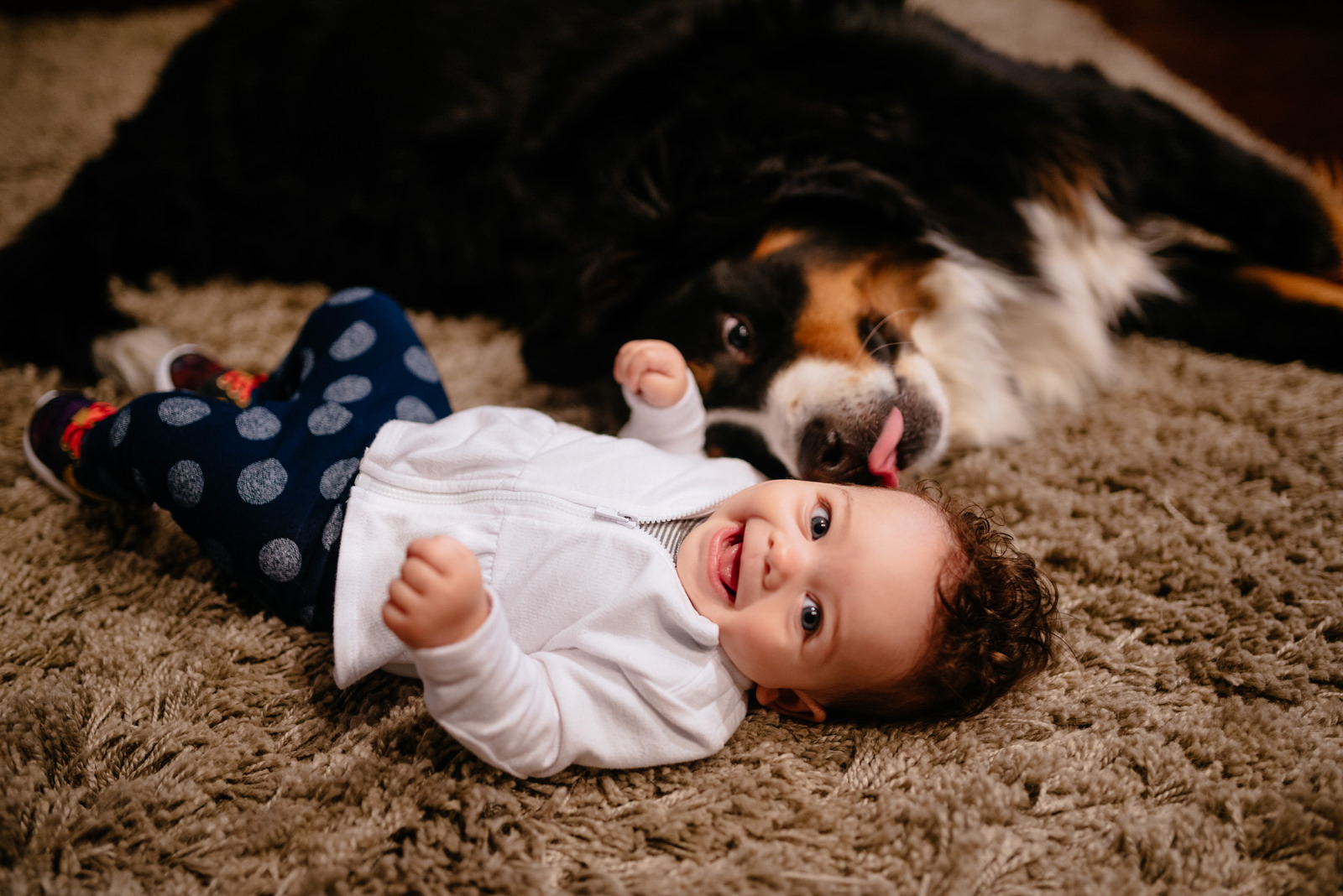 happy baby with dog