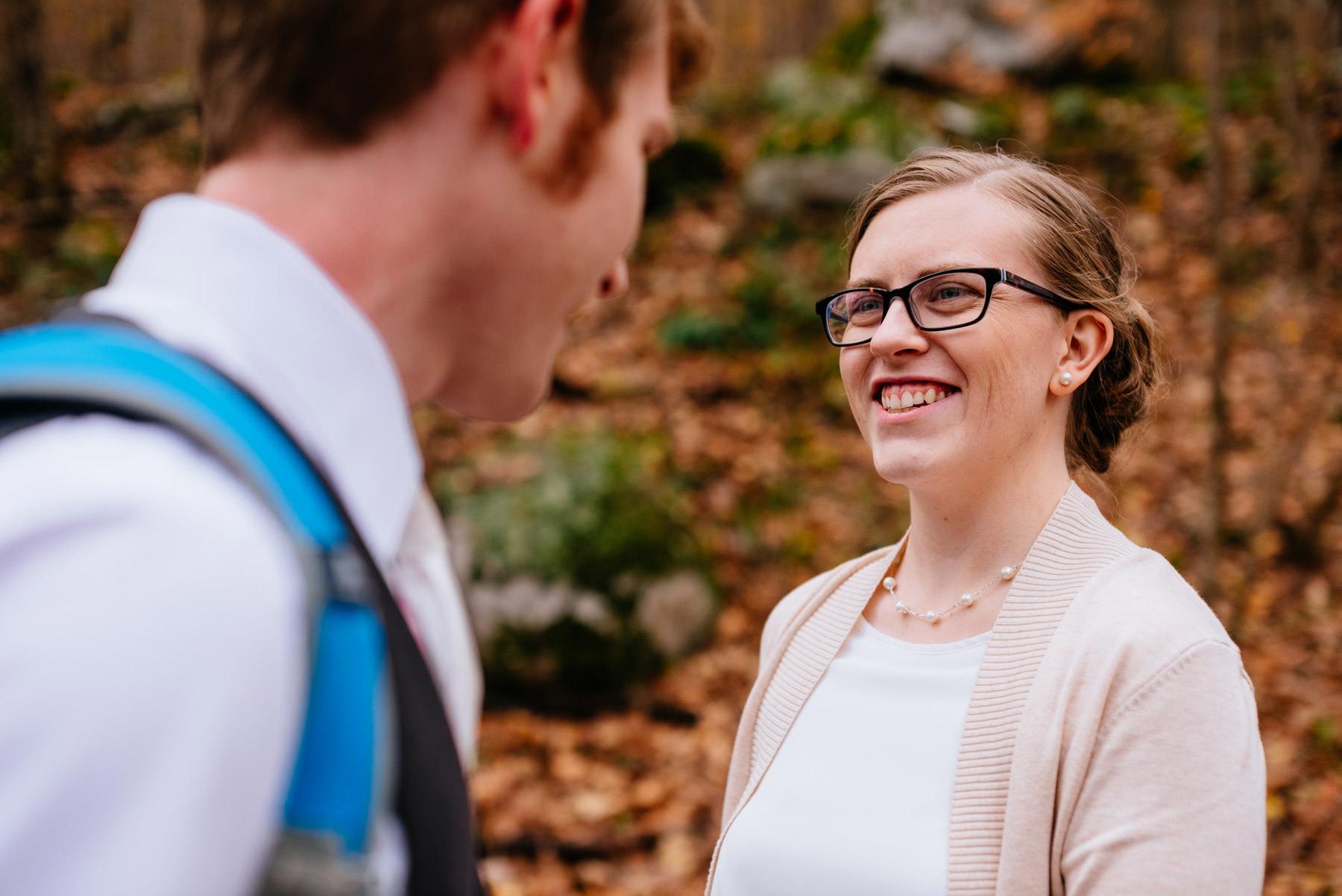 wv hiking elopement happy bride