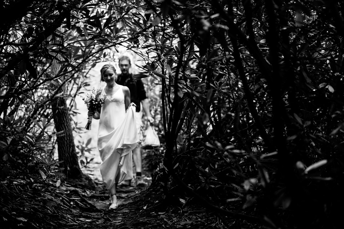 bride walking through thicket new river gorge wv