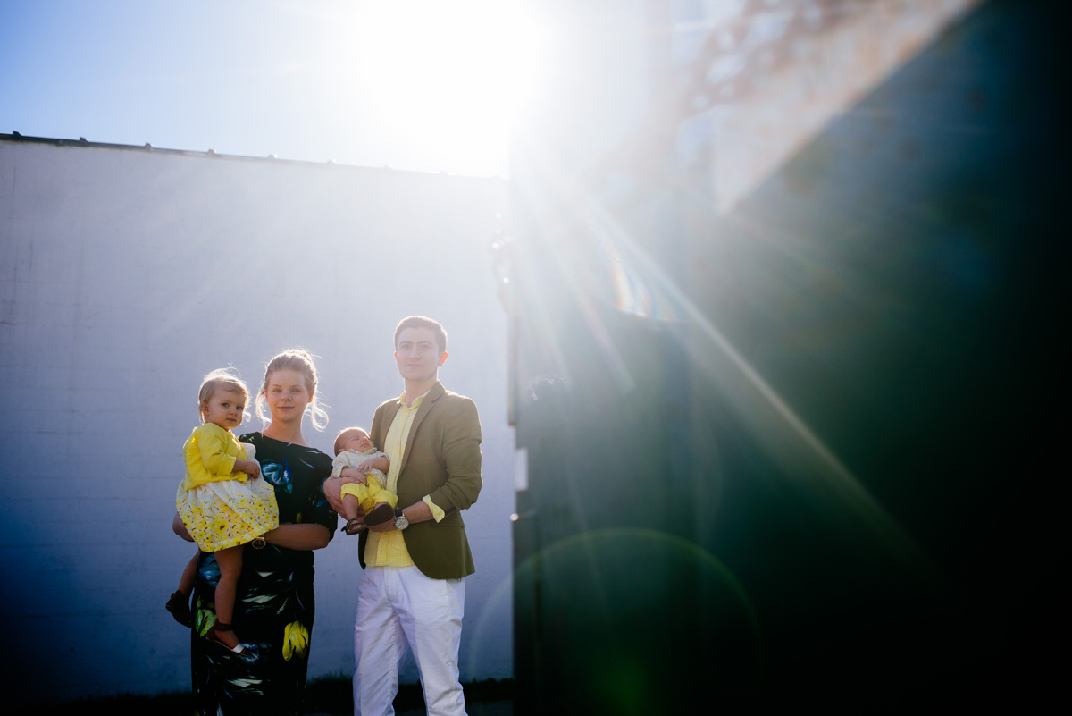 backlit family portrait