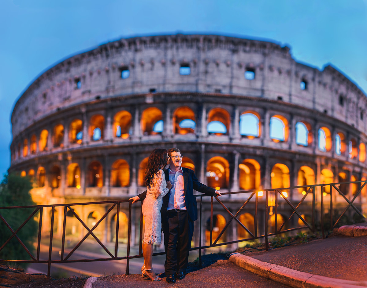 destination wedding elopement rome italy coliseum colosseum