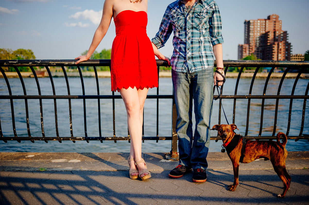 007b nyc manhattan engagement photos east river esplanade with dog
