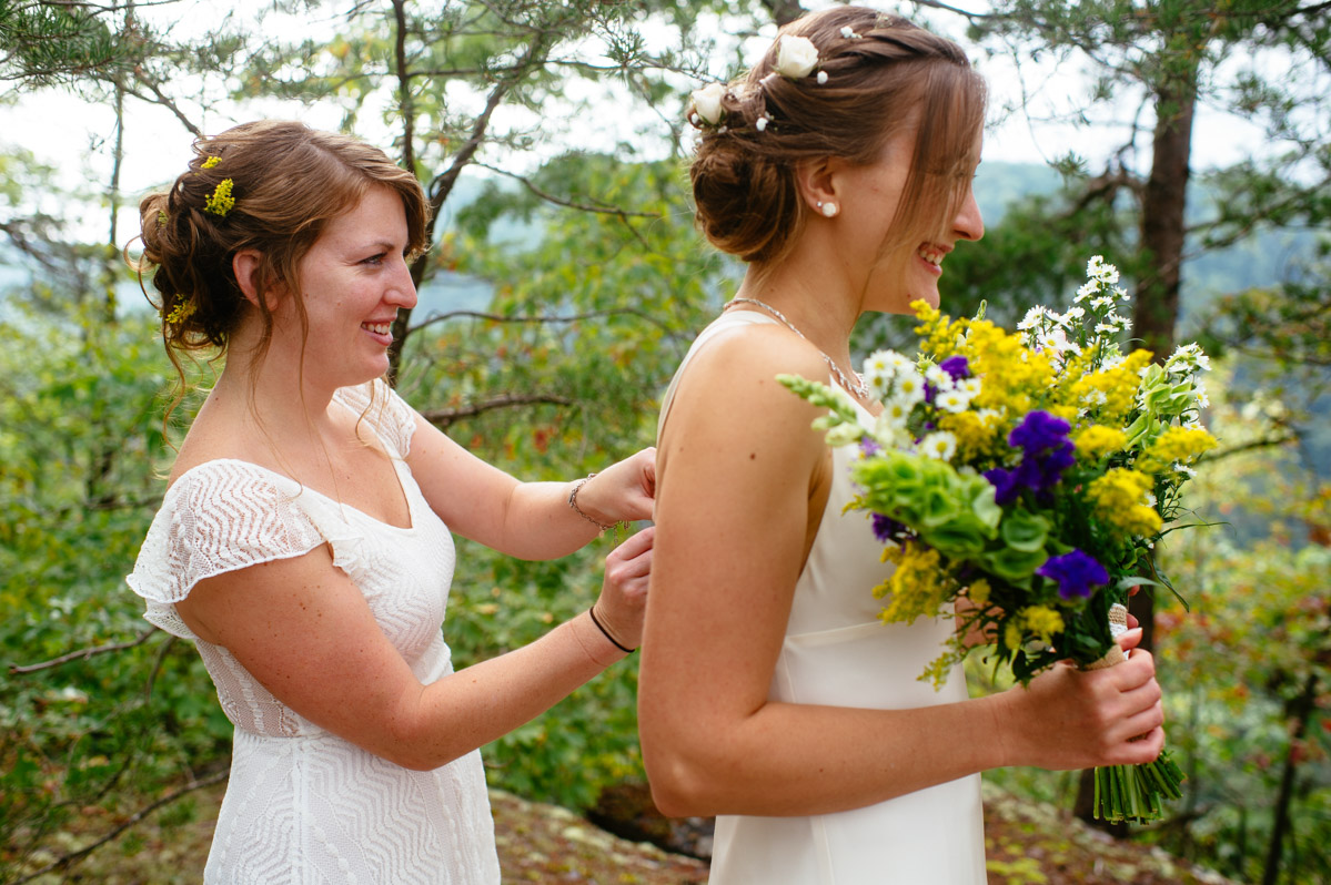 bride getting ready long point trail wedding by best wv elopement photographers the oberports