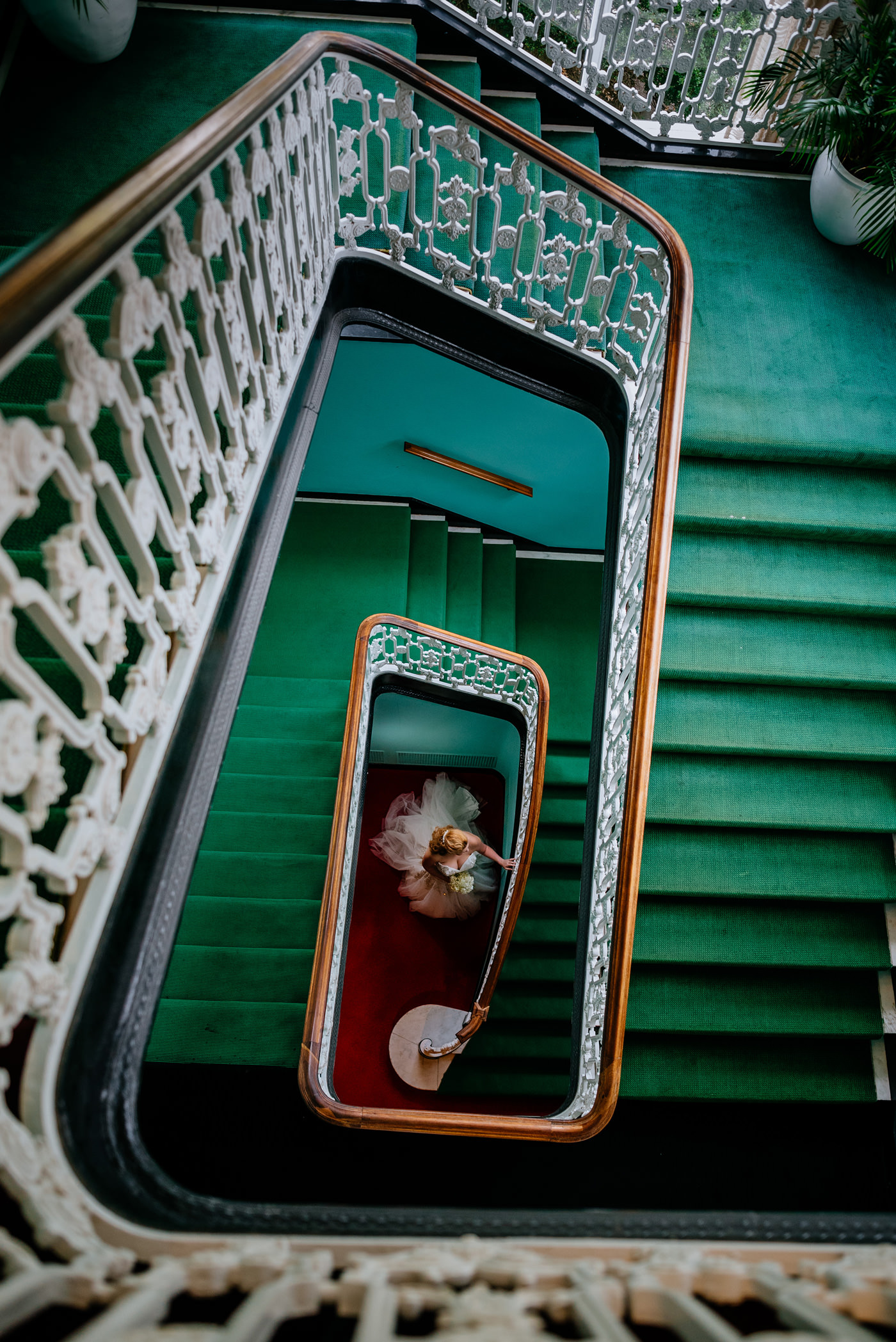 bride on staircase at the greenbrier
