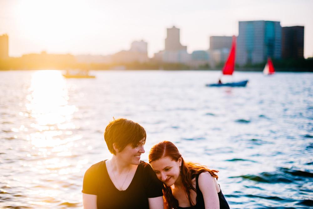 charles river boston engagement portraits