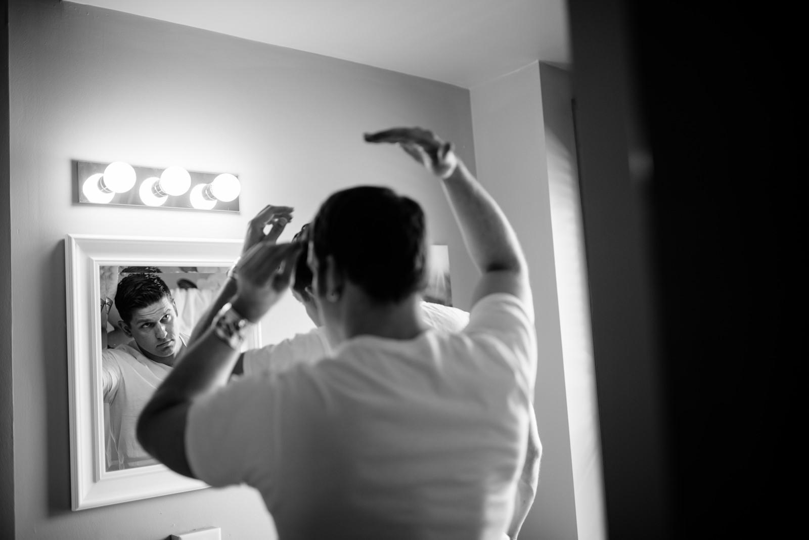 groom getting ready lafayette flats fayetteville wv wedding