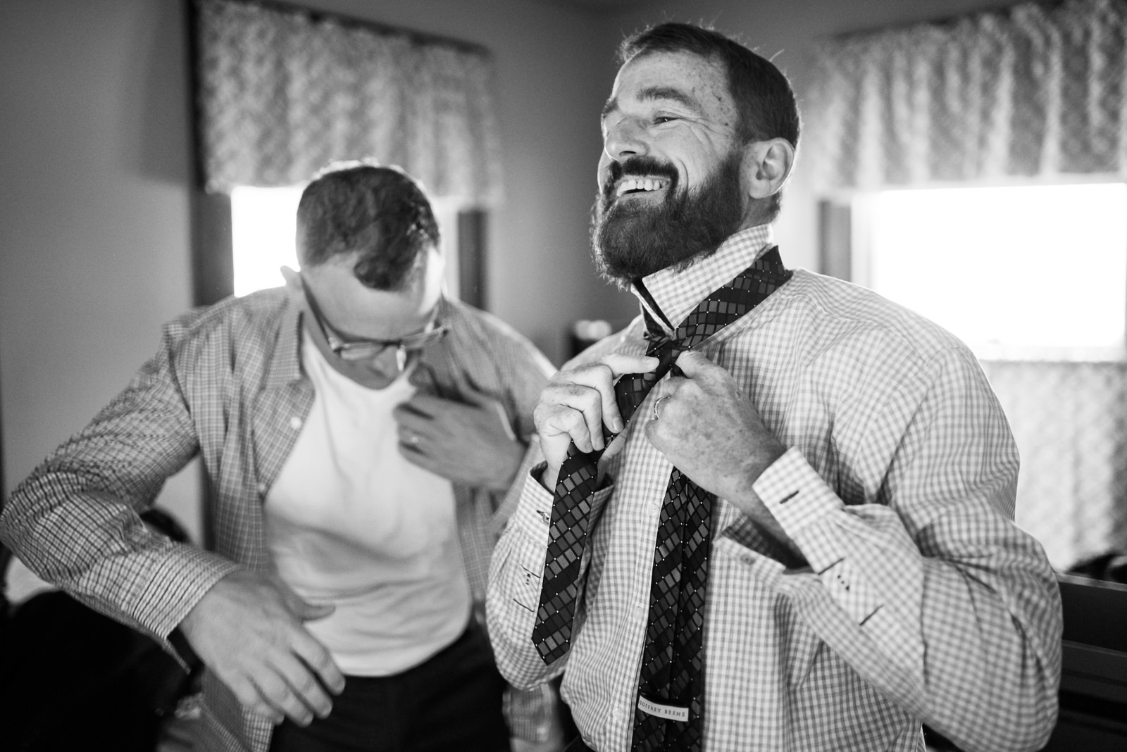 grooms getting ready together wv same sex wedding