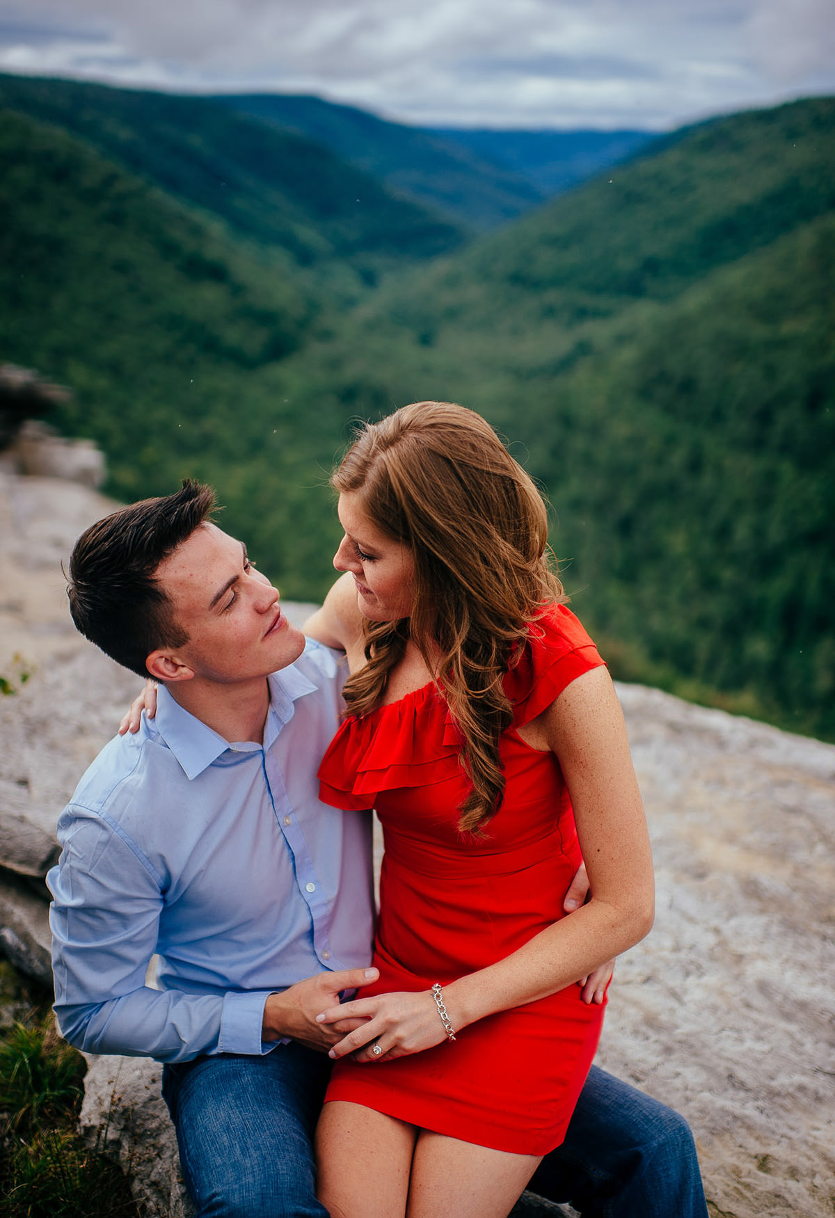 portrait of newly engaged couple at blackwater falls state park