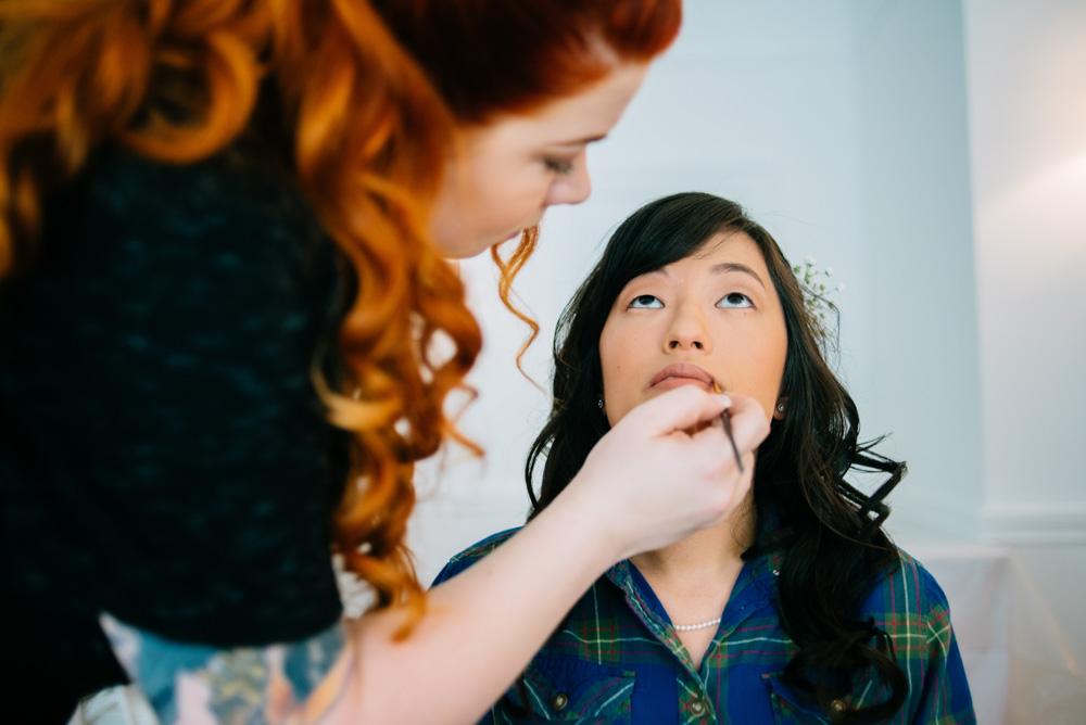 bride getting ready wv