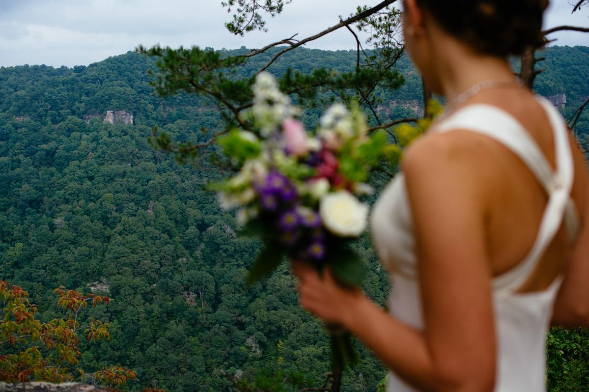 bride overlooking new river gorge