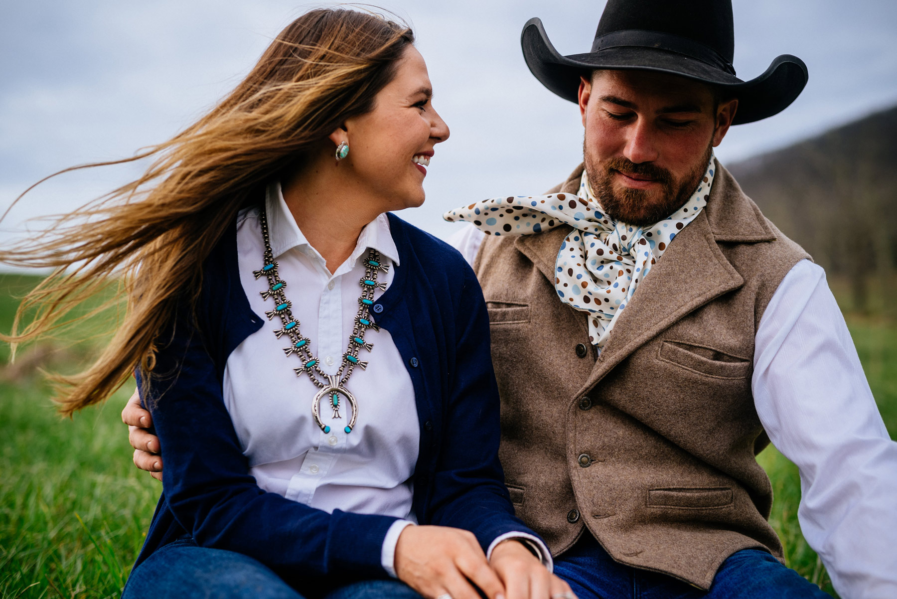 lexington virginia engagement session with horses