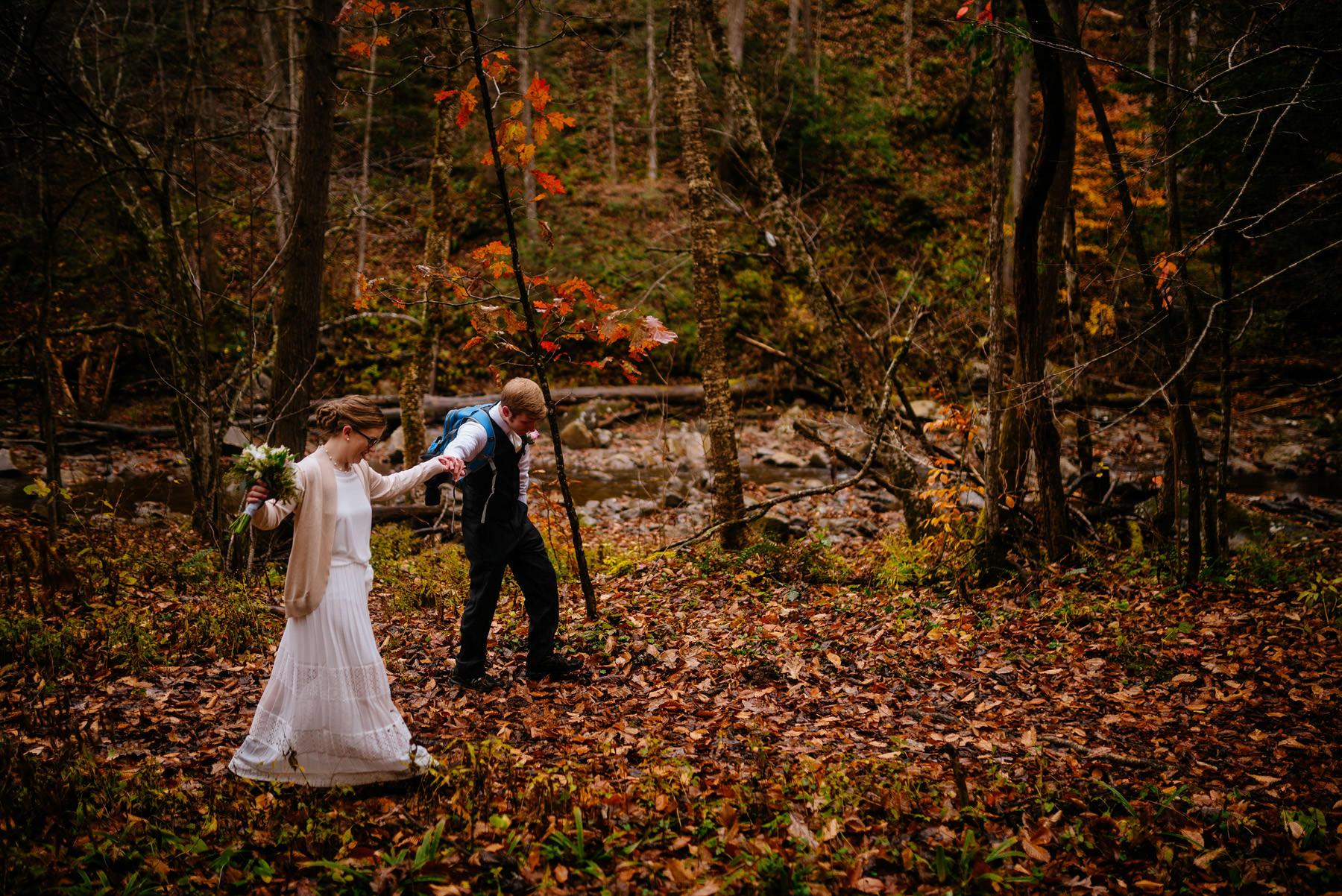 bride groom glade creek wv hiking elopement