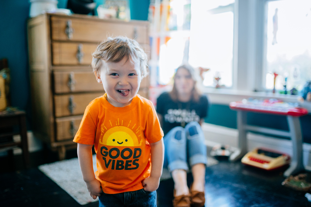 toddler in good vibes tshirt