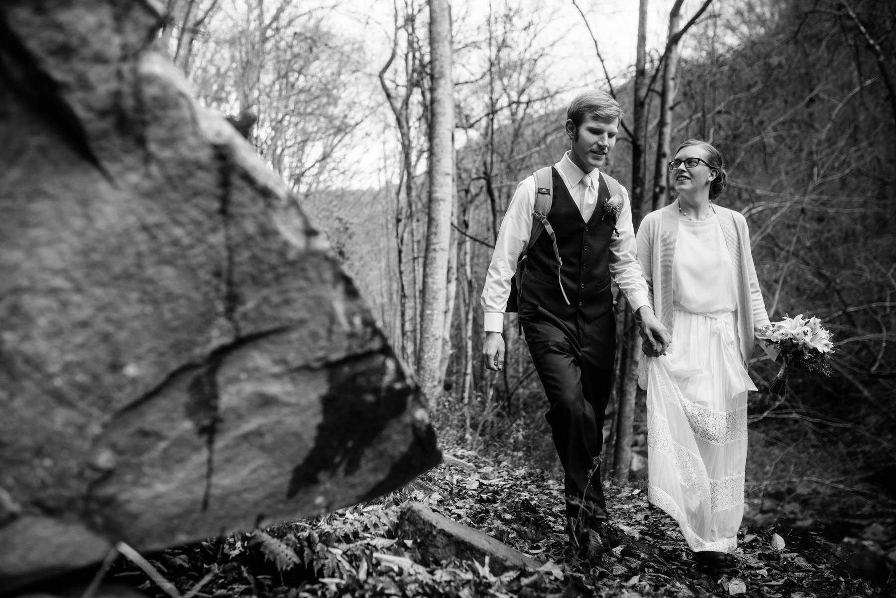 bride groom hiking during elopement