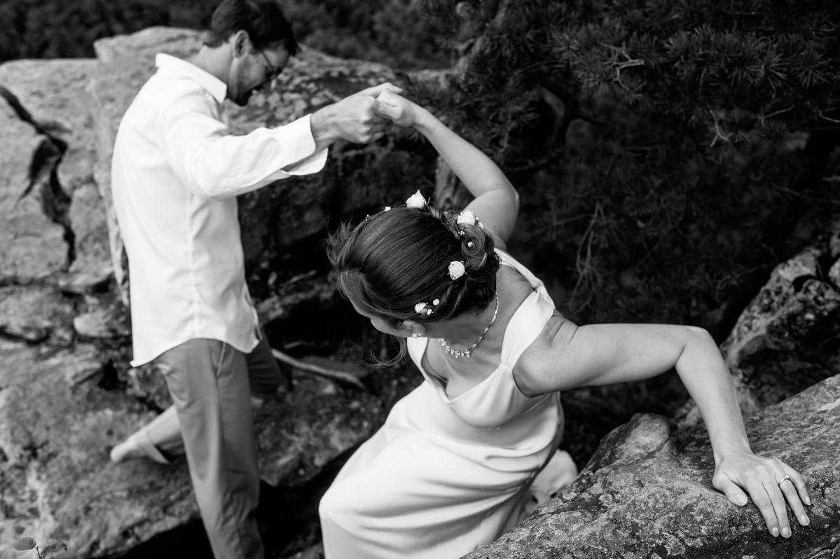 bride groom rock climbing wedding new river gorge