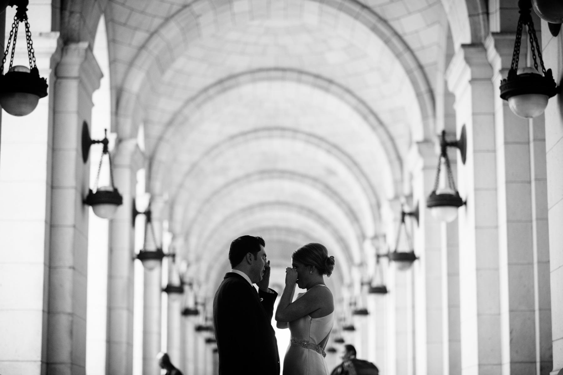 bride and groom at union station dc