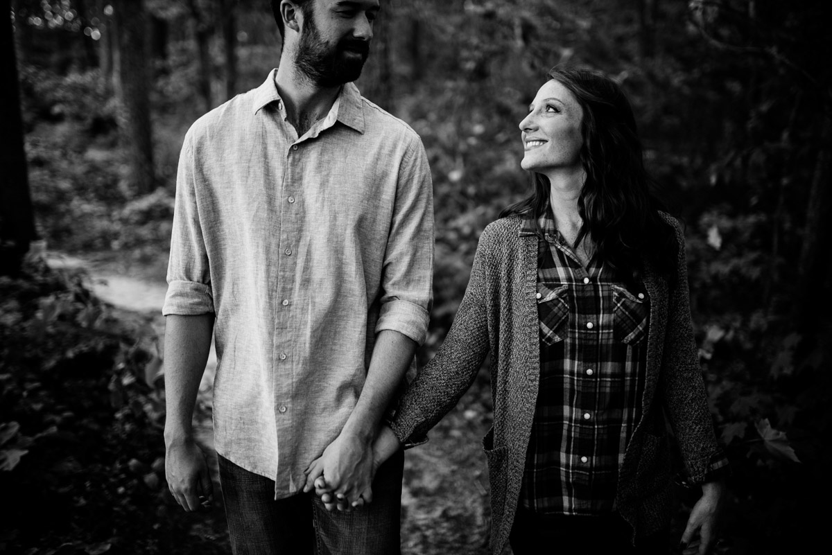 engagement session in the woods west virginia new river gorge
