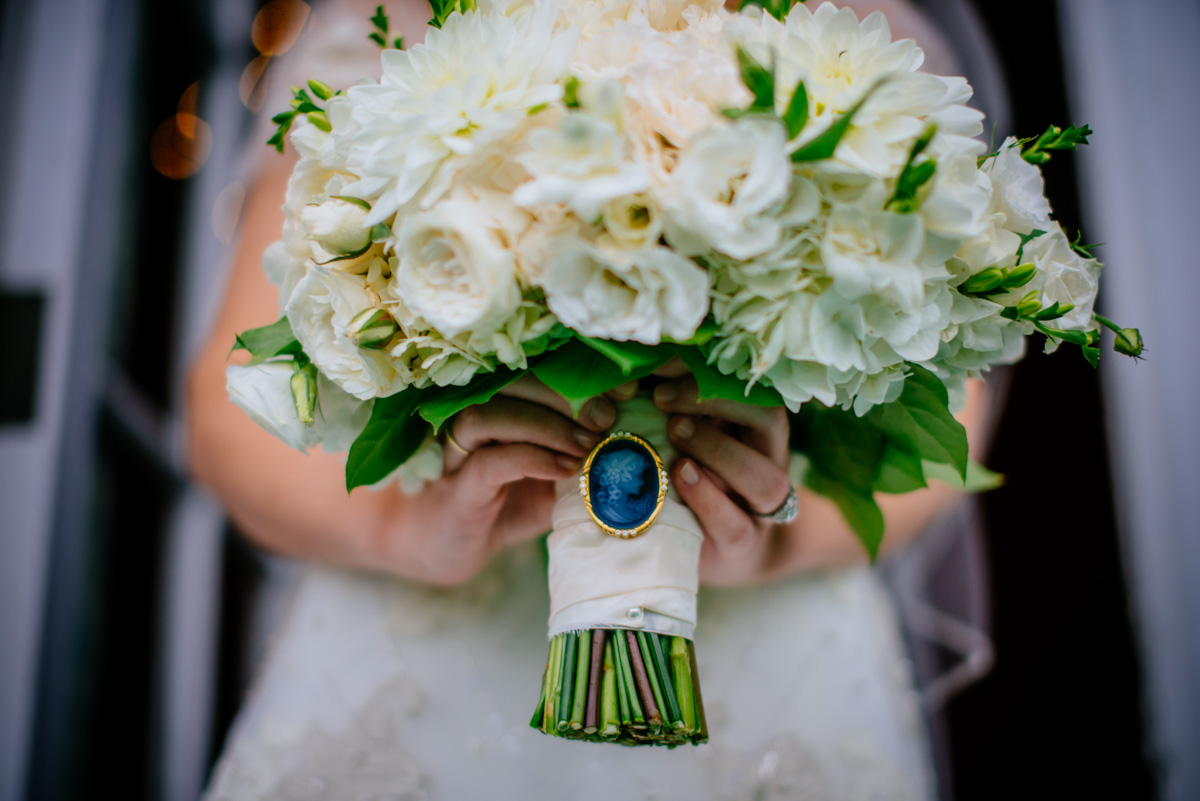 bridal bouquet with cameo