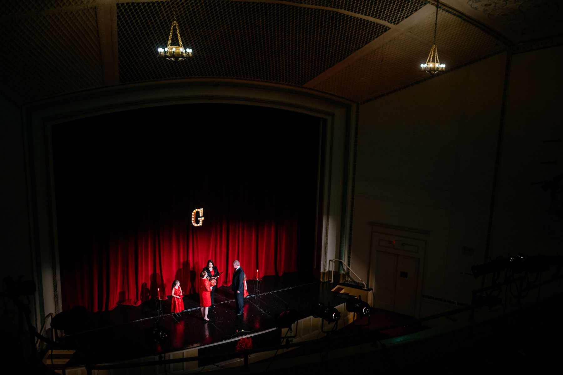 leap day wedding ceremony in a theater
