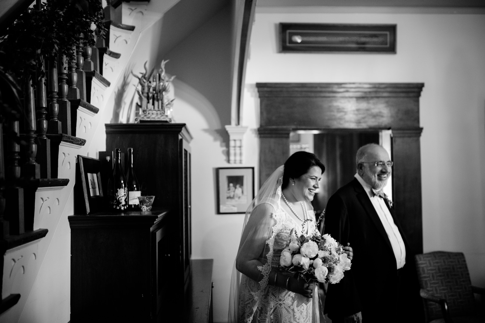 bride and father before ceremony holly hill inn wedding lexington kentucky