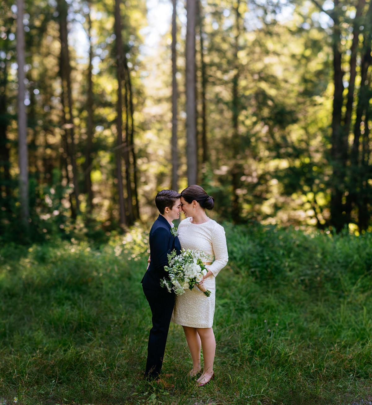gay wedding bokeh panorama brenizer method portrait