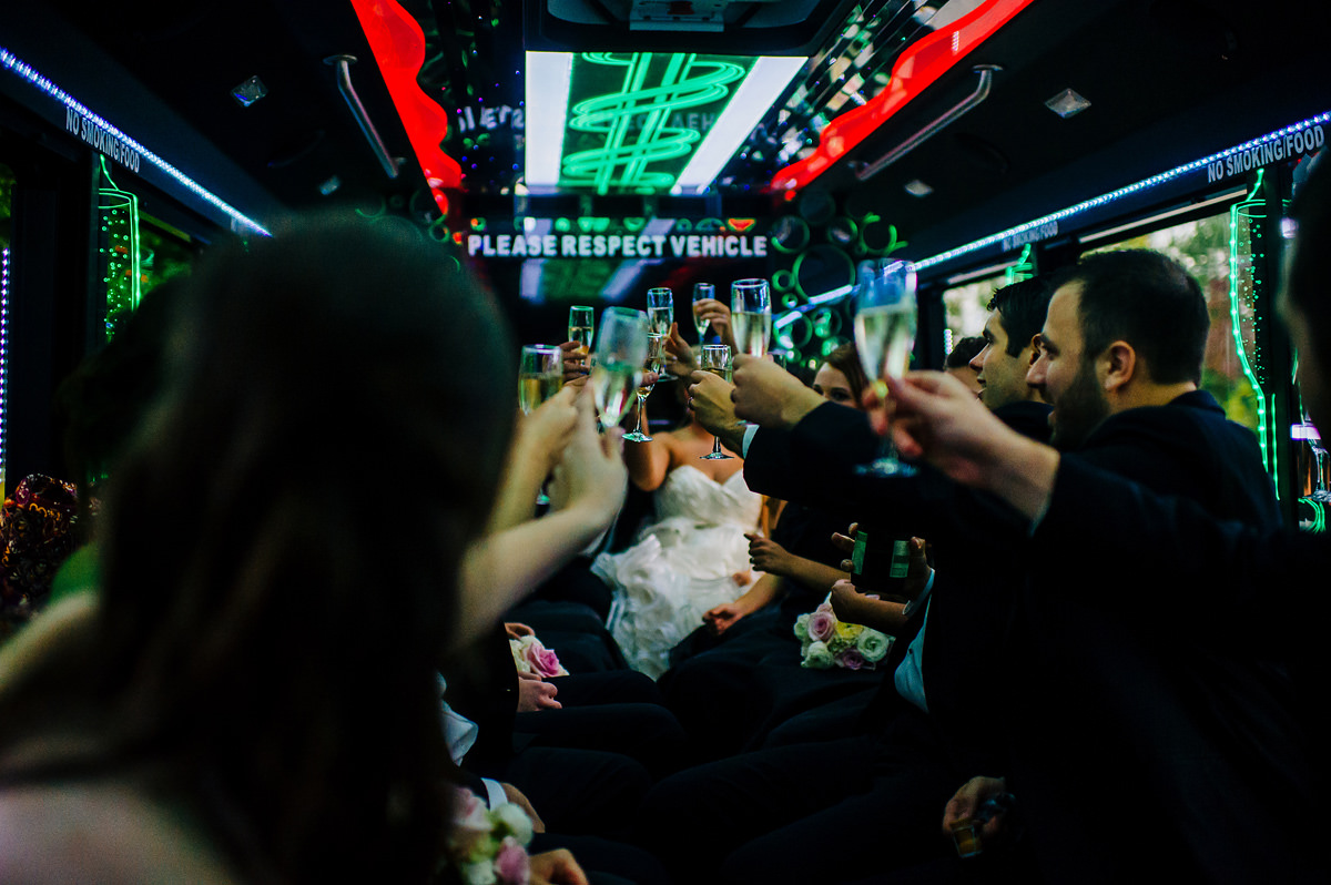 wedding party in party bus