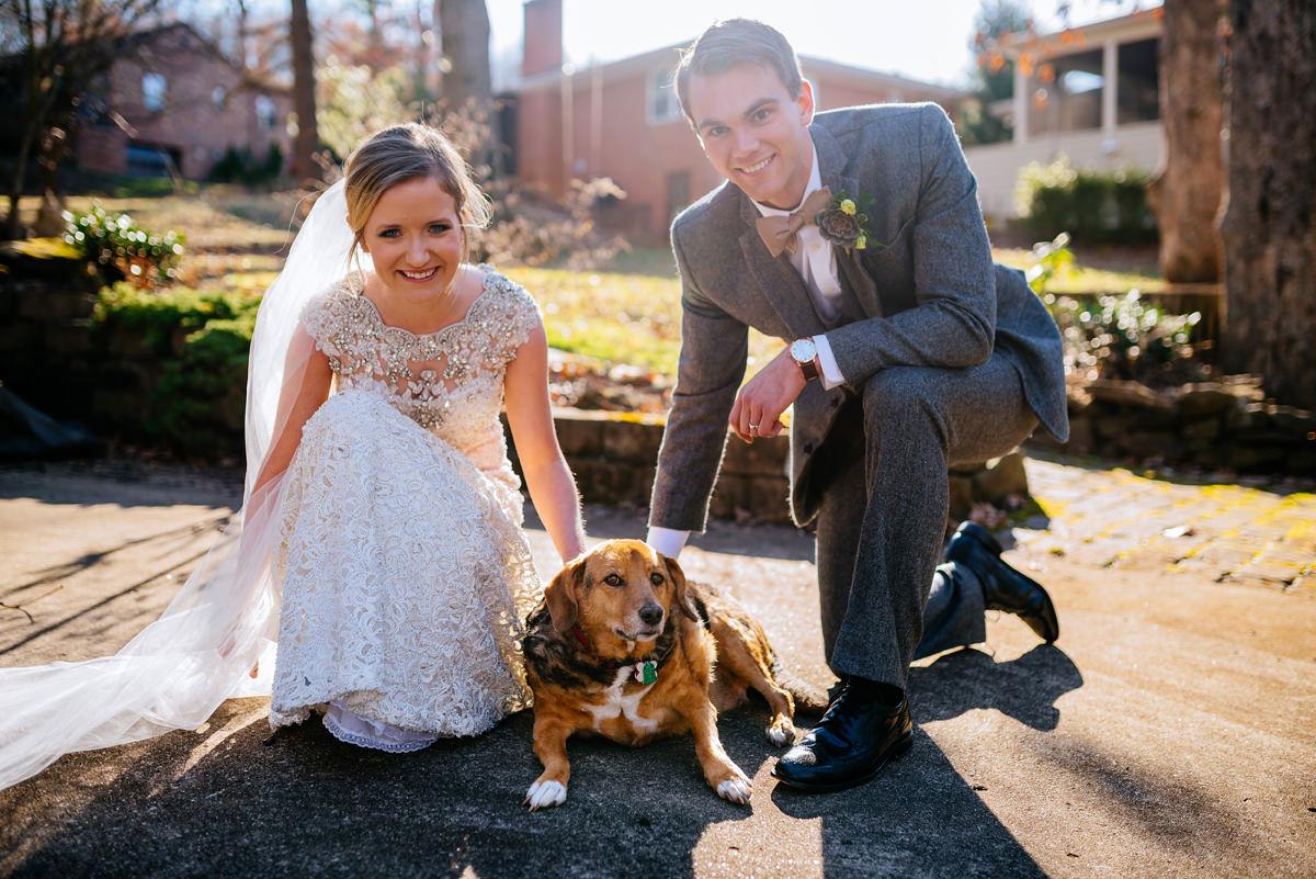 wv winter wedding couple with childhood dog