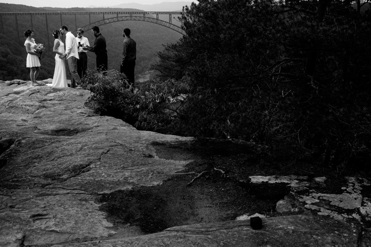 black and white long point trail overlook elopement ceremony