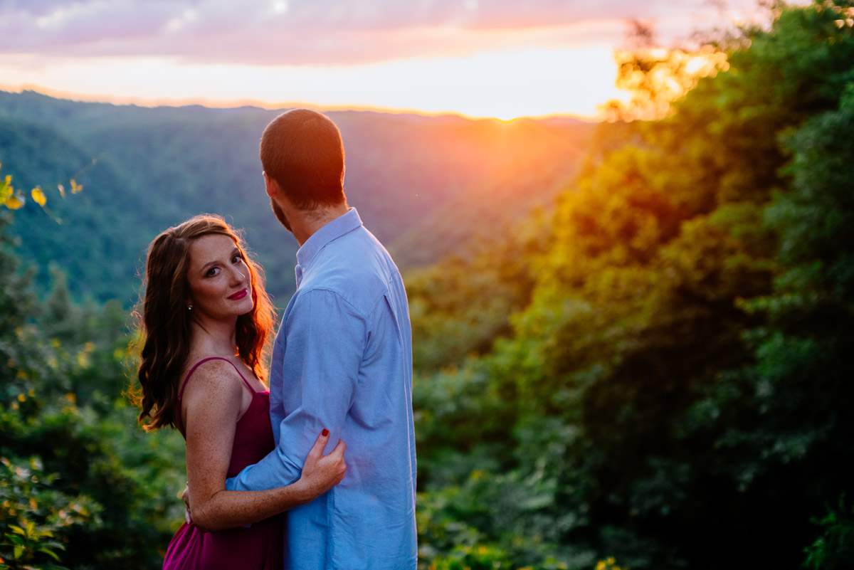 wv sunset engagement adventures on the gorge