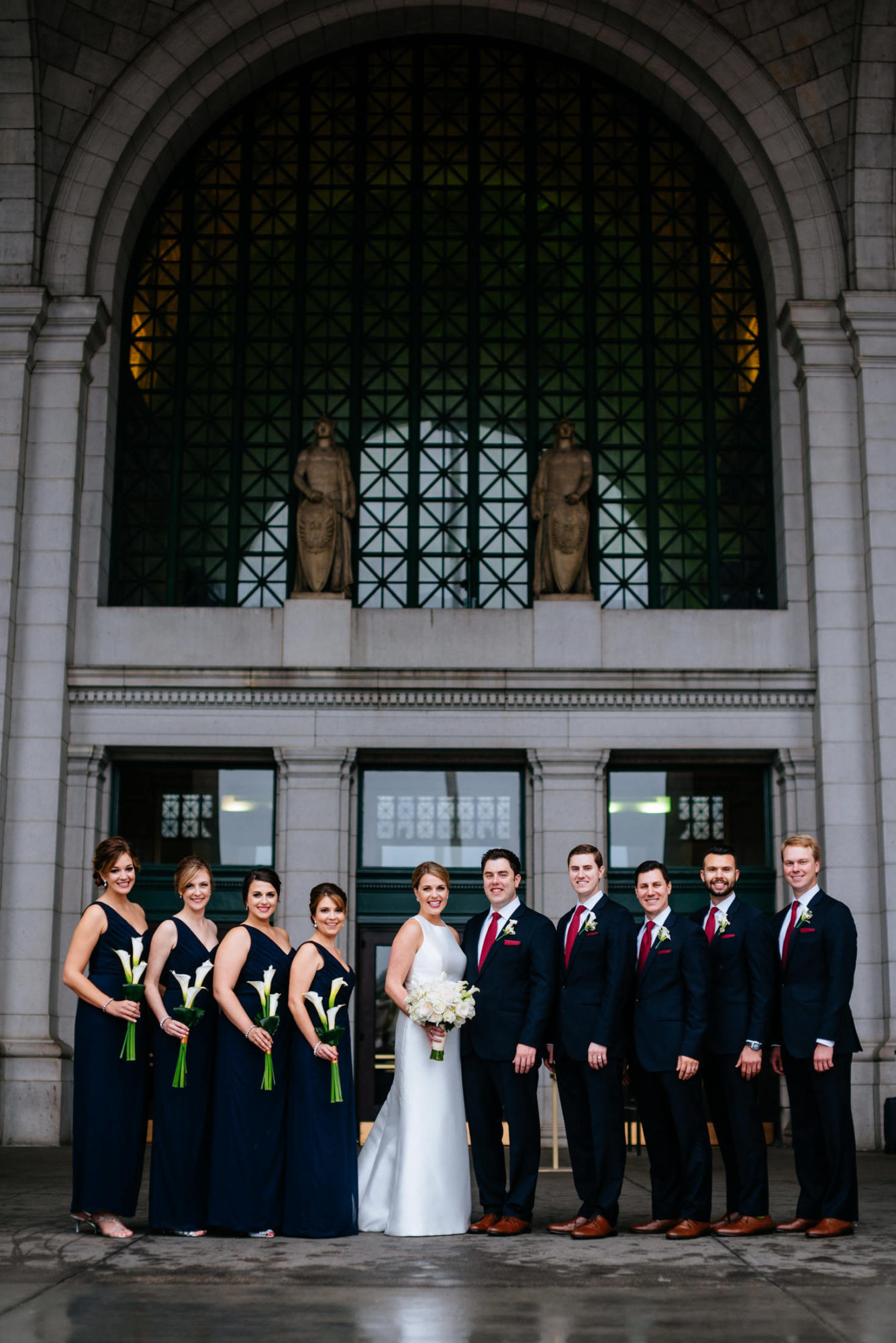 wedding party in front of union station
