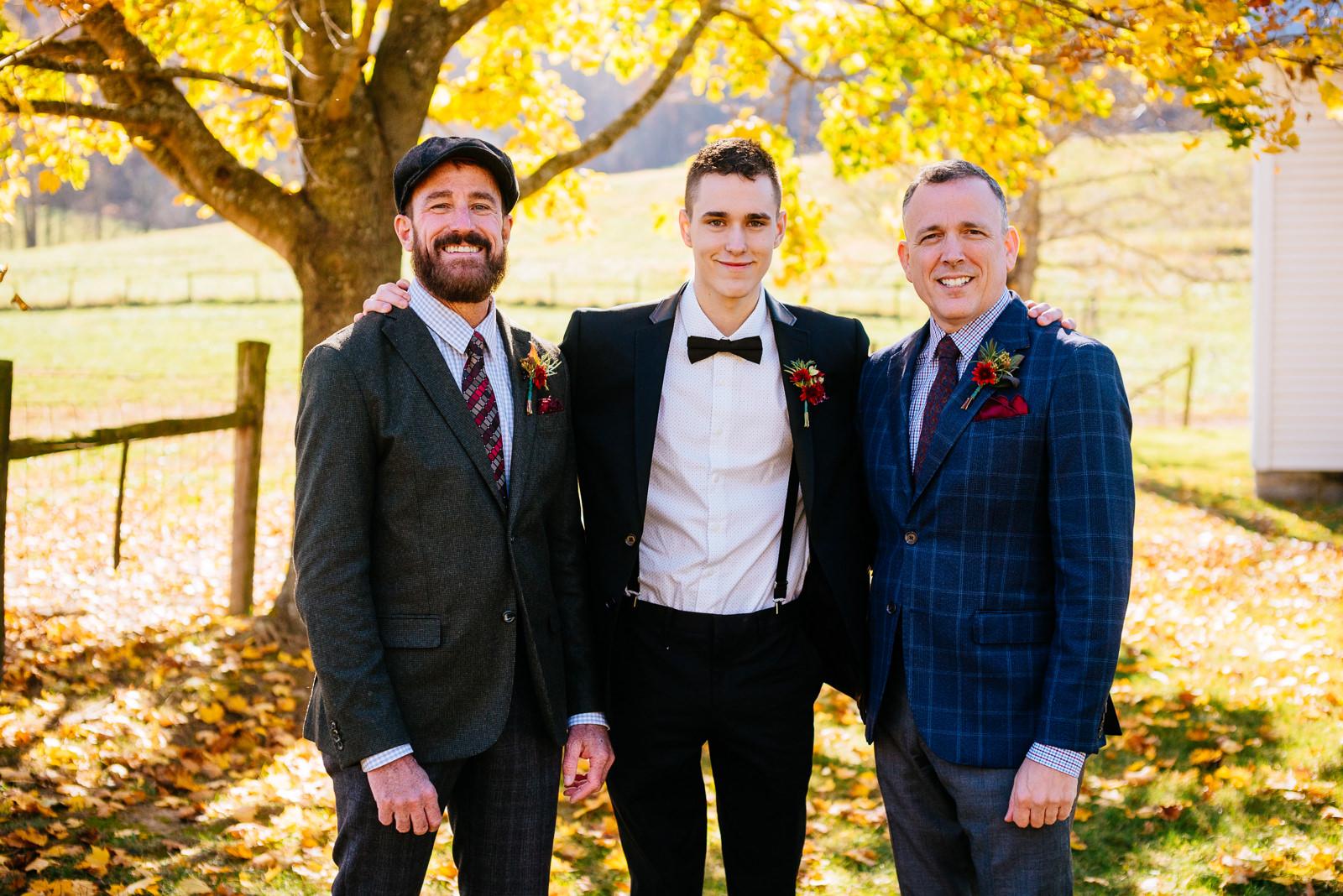 grooms with son gay wv farm wedding