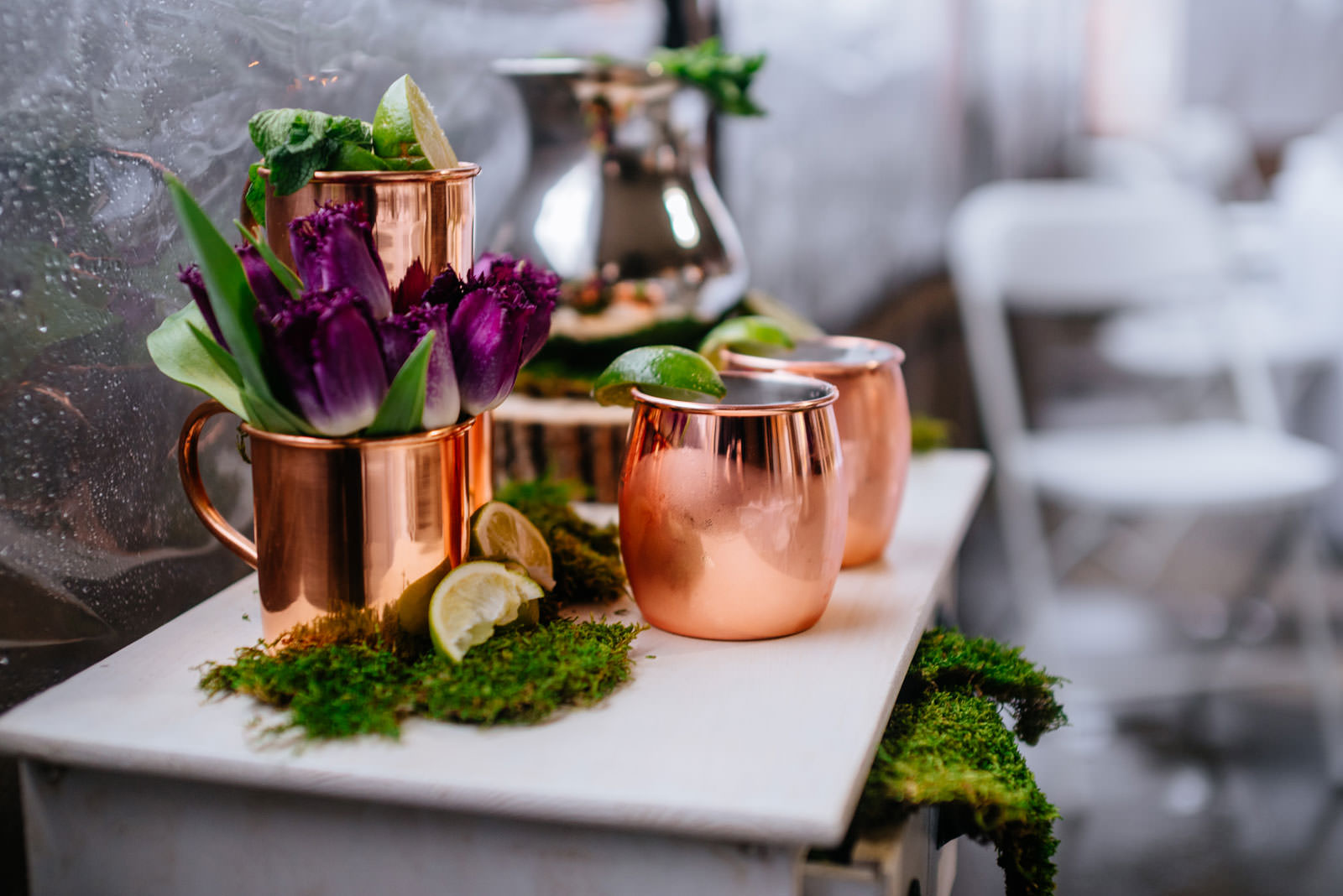 moscow mule table wedding details