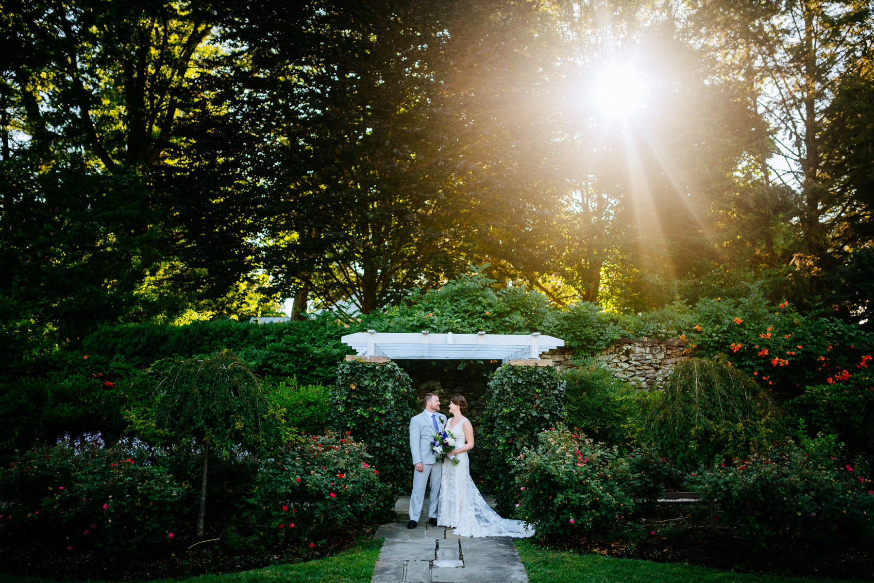bride and groom portrait at airlie garden