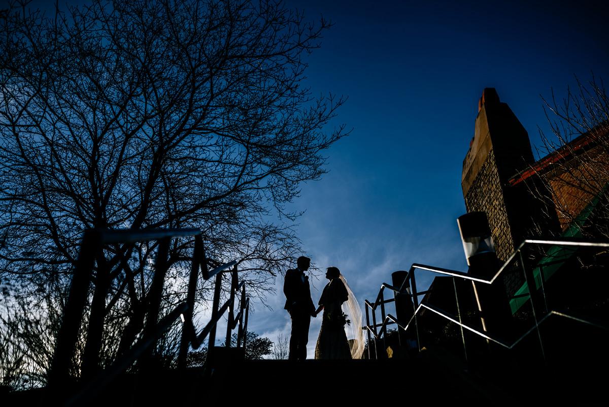 wv winter wedding silhouette