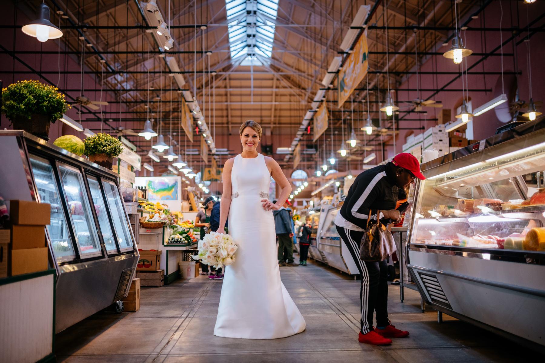 bridal photo inside eastern market dc