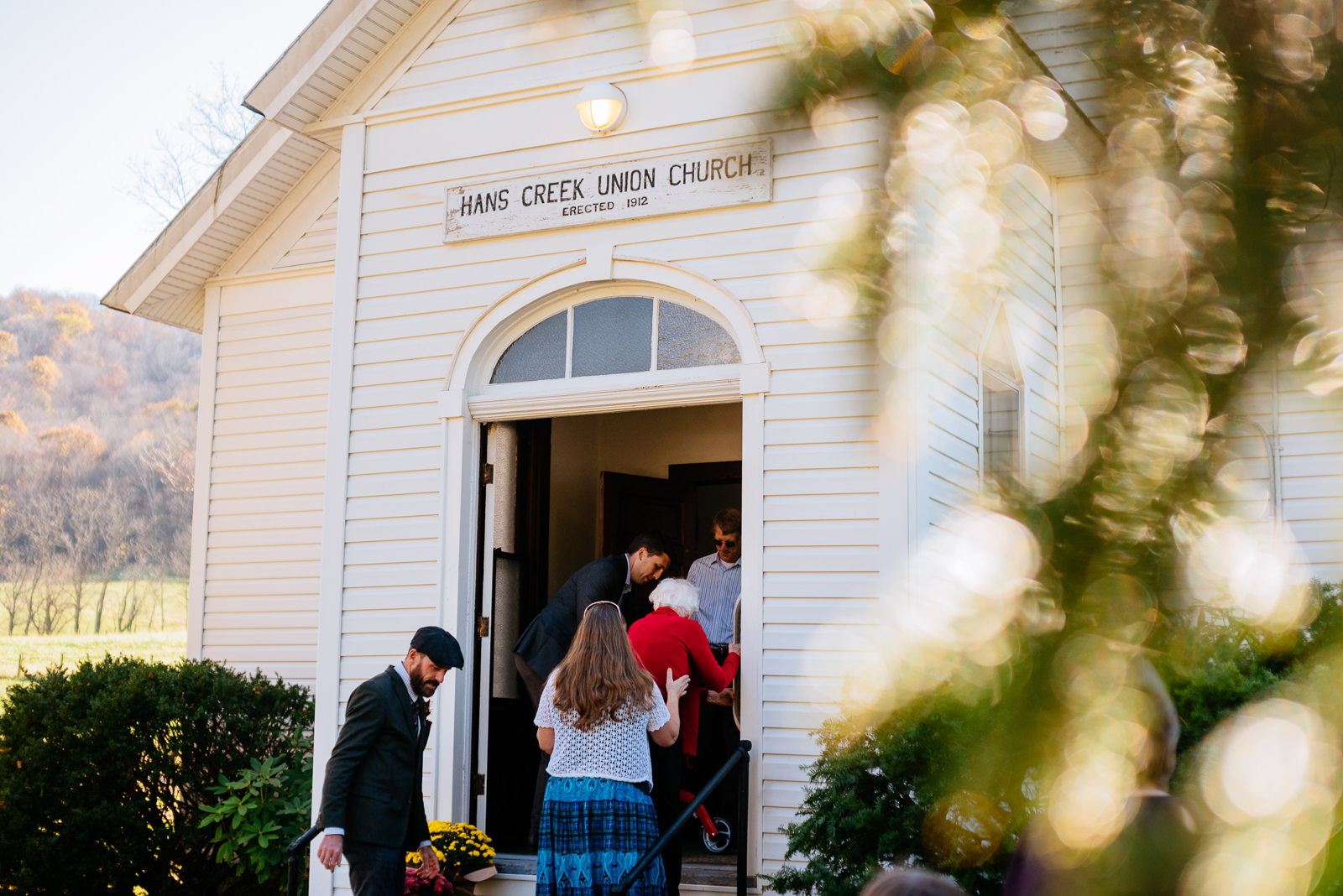 entering the chapel southern wv farm wedding