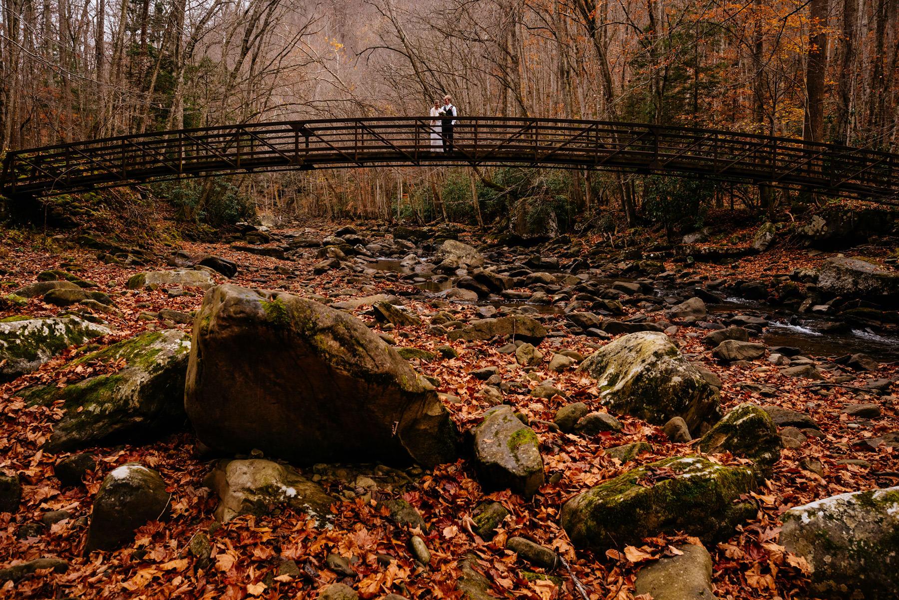 wedding portrait on bridge glade creek wv hiking elopement