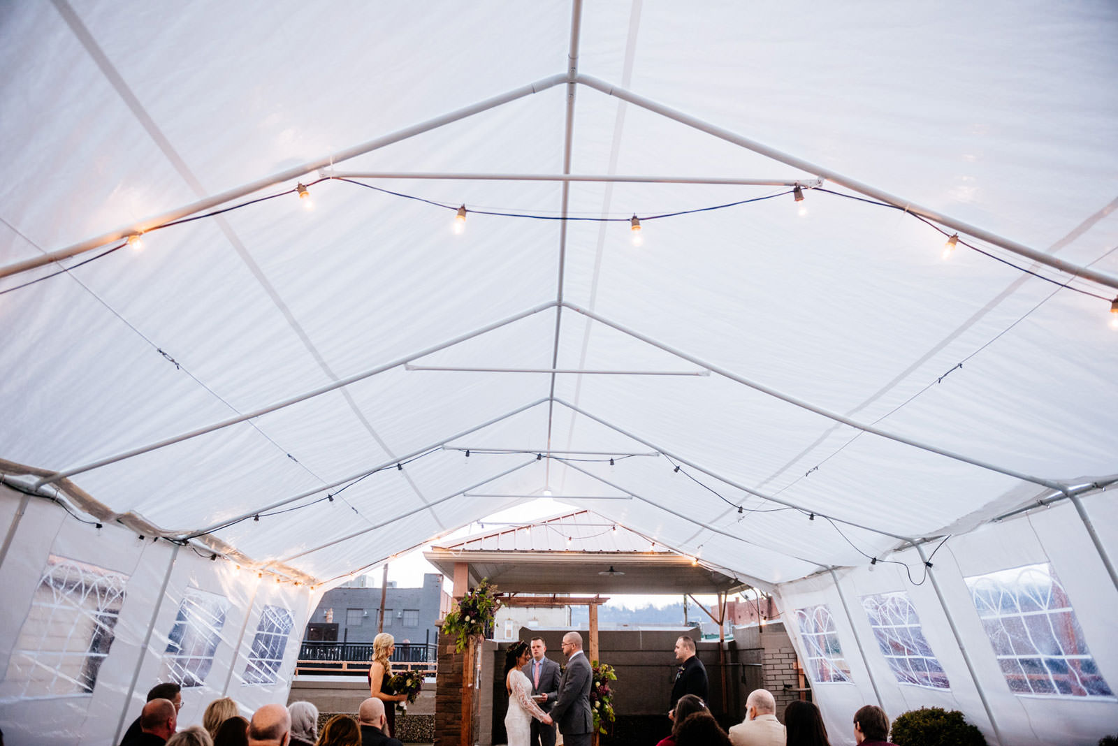 wedding on rooftop tent morgantown west virginia