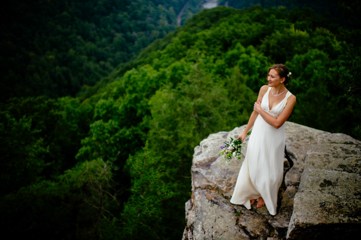 bridal picture on cliff by creative wv wedding photographers the oberports