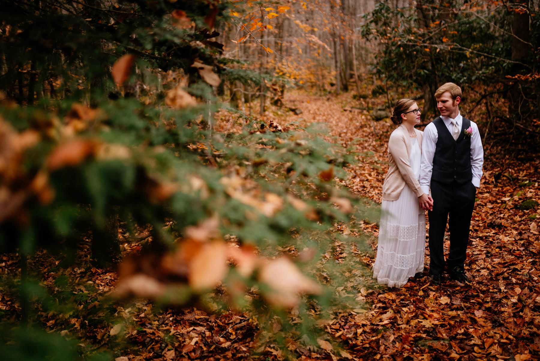 bride groom portraits just married glade springs west virginia in fall