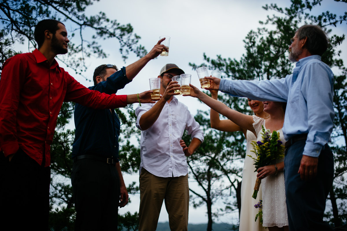 long point elopement champagne toast
