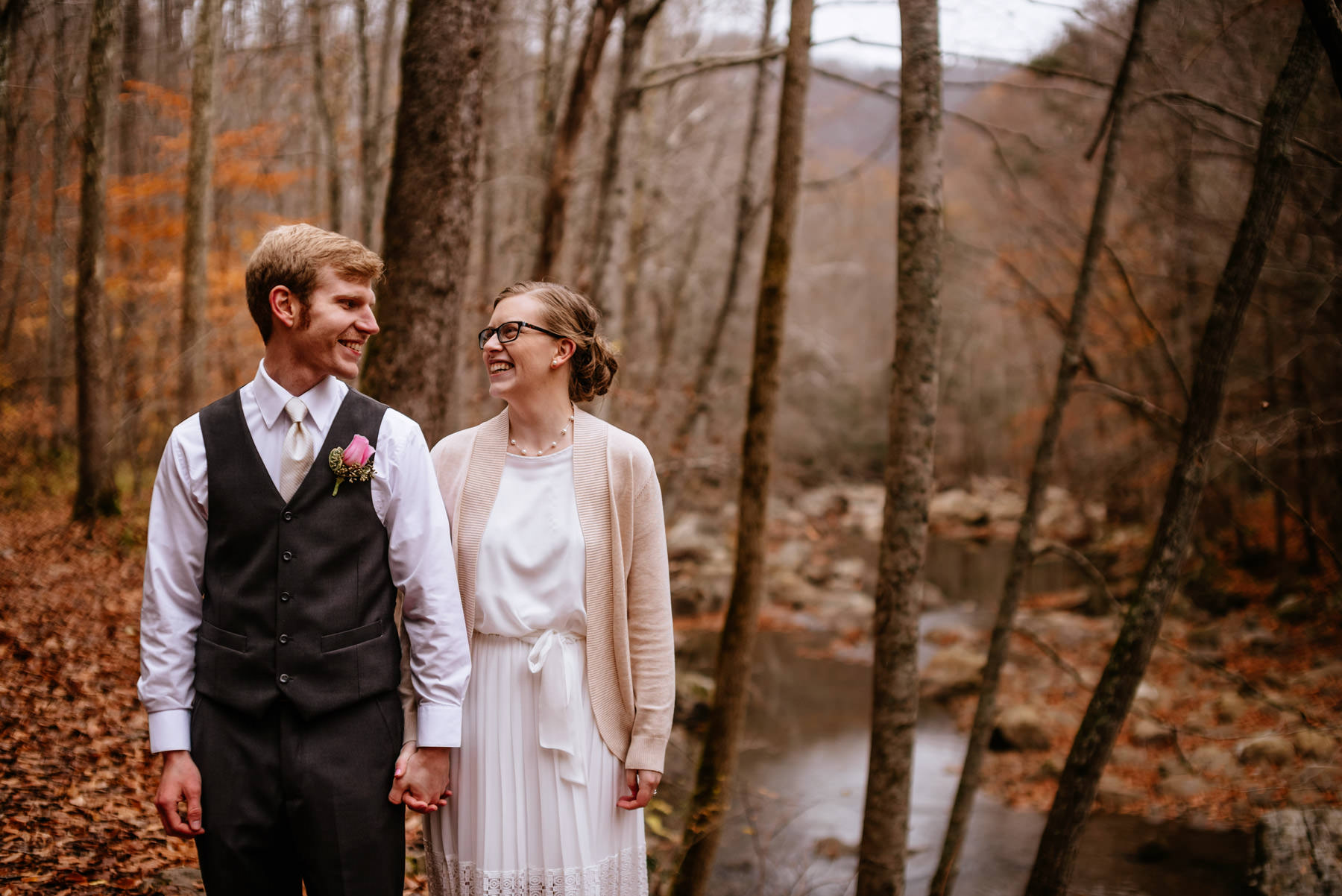 fall outdoor wedding portrait glade springs wv hiking elopement