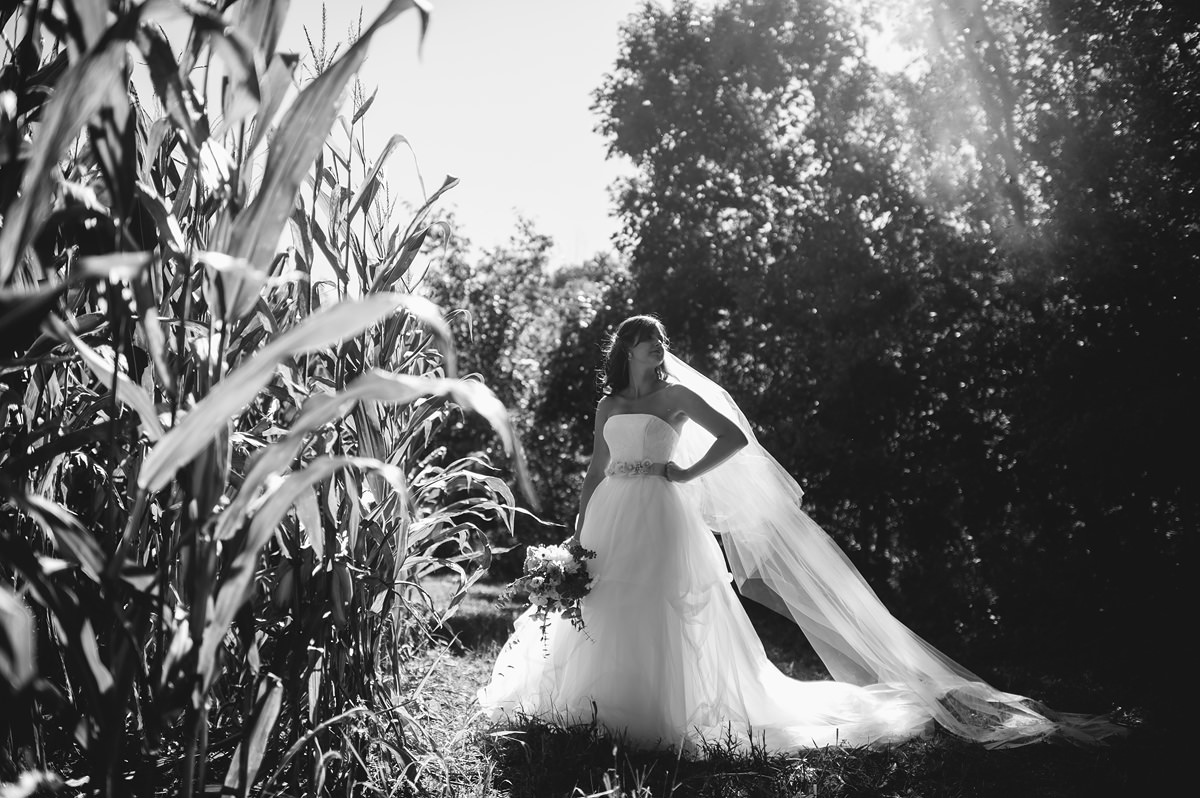 bridal portrait white by vera wang tulle wedding gown