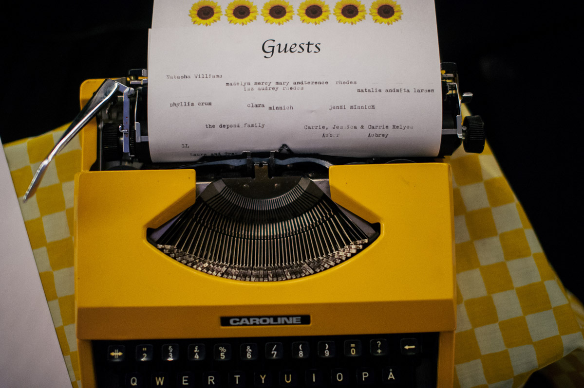 vintage typewriter wedding reception details