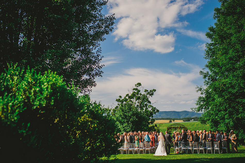 outdoor summer farm wedding ceremony in appalachia