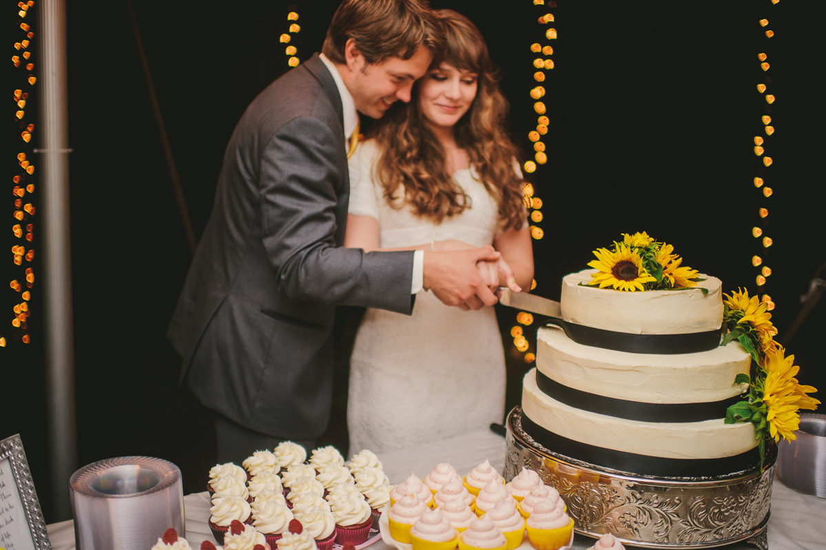 bride groom cutting cake