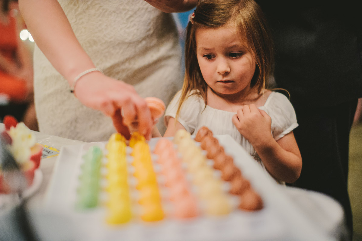 kid eating macarons at wv wedding
