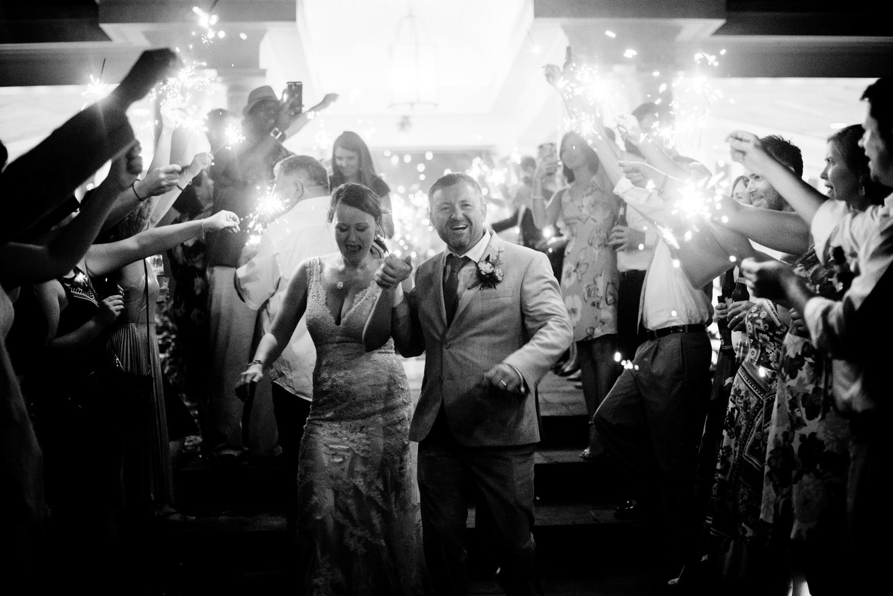 sparkler exit at airlie wedding